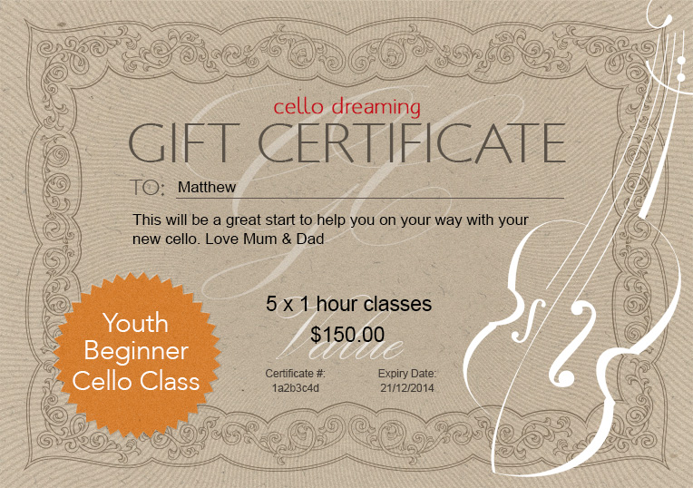 Gift certificate youth beginner cello class cello dreaming gift certificate individuallessons template yadclub Choice Image